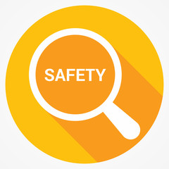 Protection Concept: Magnifying Optical Glass With Words Safety