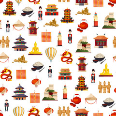 Vector flat style china elements pattern