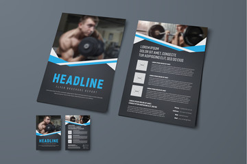 design of a black brochure with blue ribbons and a place for photos.