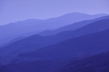 Mountains silhouette at dusk. Jerte valley. Spain landscape