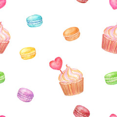 Seamless watercolor pattern with colorful macaroons and cupcakes for background, wallpaper, textile, card, print. Watercolor hand drawn illustration isolated on white background.