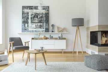 Scandi grey living room interior