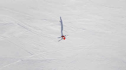 Lone skier from above