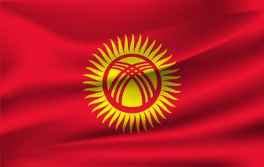 Realistic waving flag of Kyrgyzstan. Current national flag of Kyrgyz Republic. Illustration of lying wavy shaded flag of Kyrgyzstan country. Background with kyrgyz flag.