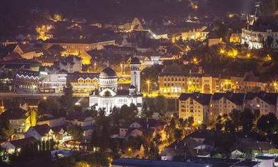 Sighisoara mdieval town at night. Romania