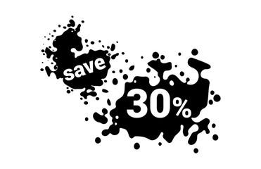 30 Percent Discount Black Friday Ink Spot Design Tag