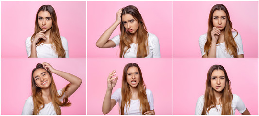 young woman on pink background Attractive beautiful woman showing air kiss