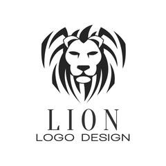 Lion logo, design element for poster, banner, embem, badge, tattoo, t shirt print vector Illustration on a white background