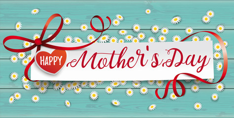 Turquoise Wood Daisy Paper Banner Mothersday
