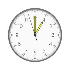 a clock shows 1 o'clock