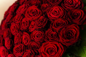 Close up view of a bouquet of red roses on Valentine's day or Wedding card design.