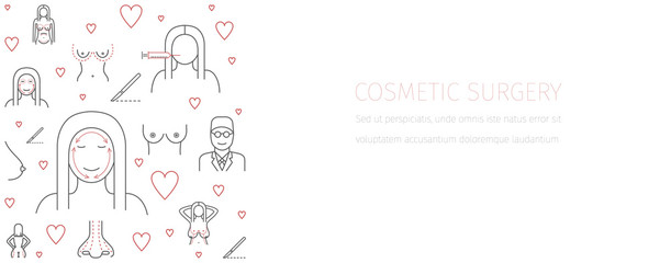 Line infographics Plastic Surgery, cosmetic surgery banner. Breast augmentation signs.