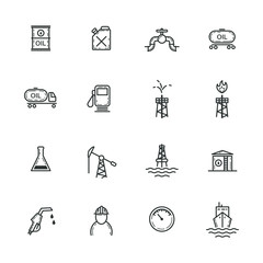 set of black and white frameless icons of the oil industry
