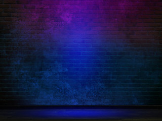 Wall background with neon lights