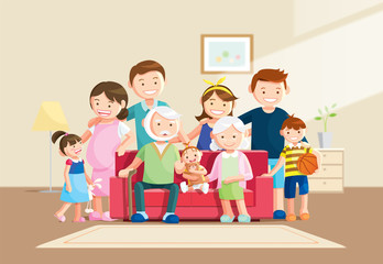 Warm big family portrait with blurred background. Grandfather, grandmother and baby sitting on the sofa at home. Vector illustration in a flat style.