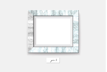 Marble frame isolated on white background. Vector illustration. Wall marble frame mock-up