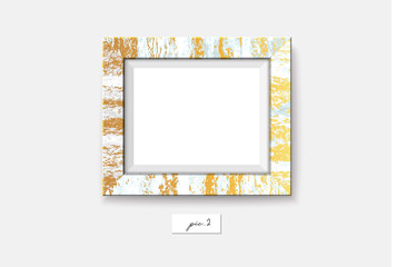 Golden marble frame isolated on white background. Vector illustration. Wall marble frame mock-up. Rusty frame