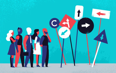Persone impegnate a scegliere la direzione giusta