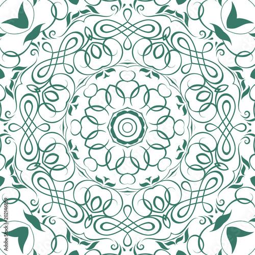 Seamless floral motif pattern coloring mandala, lace, hand drawn ...