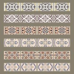 Vector set of decorative tile borders. Collection of ornaments for ceramic tile. Portuguese azulejos decorative pattern