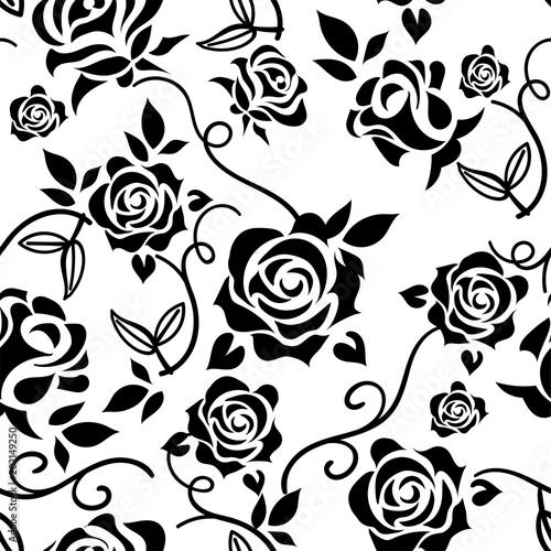 Rose Illustration Monochrome Continuous Pattern Of Rose Pattern