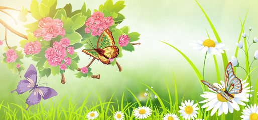 colorful green background with flowers and butterflies