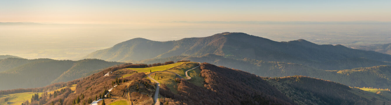 French landscape - Vosges. View from the Grand Ballon in the Vosges (France) towards the Jura and Alps in the early morning.