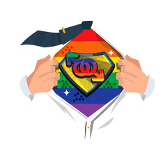 "man open shirt to show ""Gay symbol"". homosexual - vector illustration"