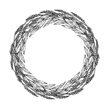 Wreath Wheat Spikelets and Green Bay Leaf, Hand Written Text. Round Wreath of Malt with Space for Text Template. Realistic Hand Drawn Illustration. Savoyar Doodle Style.