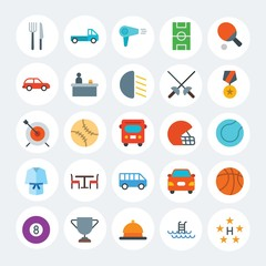Modern Simple Set of transports, hotel, sports Vector flat Icons. Contains such Icons as  symbol,  car,  summer,  league,  hairdryer and more on white cricle background. Fully Editable. Pixel Perfect.