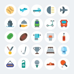 Modern Simple Set of transports, hotel, sports Vector flat Icons. Contains such Icons as  airplane, clean, baseball,  league,  white and more on white cricle background. Fully Editable. Pixel Perfect.
