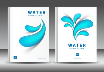 Cover design template vector for water Business, Annual report, brochure flyer template, advertisement, magazine ads, book, catalog, vector layout in A4 size, Drop water on white background