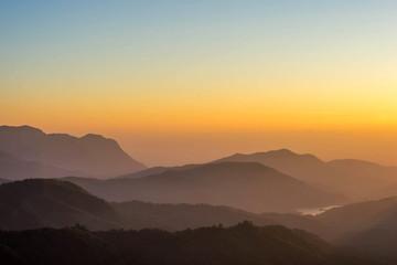 Fotobehang Heuvel Landscape nature beautiful sunrise on top of thailand mountain