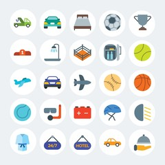 Modern Simple Set of transports, hotel, sports Vector flat Icons. Contains such Icons as  service, vehicle,  sedan, sign,  bath, car and more on white cricle background. Fully Editable. Pixel Perfect.