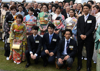 Japanese medalists of Pyeongchang Winter Olympic Games, pose for a picture during the spring garden party hosted by Japanese Emperor Akihito in Tokyo