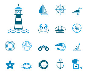 Meer und Küste - Iconset (in Blau)