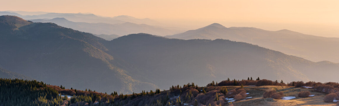 French landscape - Vosges. View from the Grand Ballon in the Vosges (France) towards the massif in the early morning.