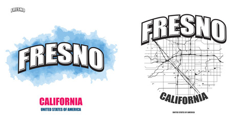 Fresno, California, two logo artworks