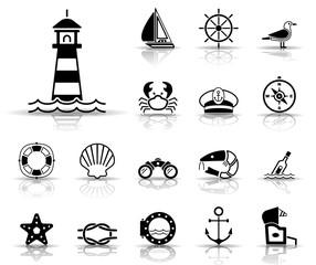 Meer und Küste - Iconset (Schwarz)