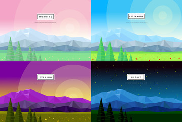 modern flat vector illustration of mountain scenery, morning, day, night, evening, abstract backgrounds from geometric shapes and triangles, image of nature, forest, trees, sun, stars, flowers