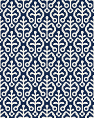 Indigo dye woodblock printed seamless ethnic floral all over pattern. Traditional oriental ornament of India, stylized flowers of Kashmir, ecru on navy blue background. Textile design.