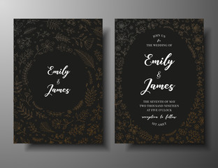 Golden vector wedding invitation with hand drawn twigs, flowers and brahches. Dark elegant botanical template for wedding invite, save the date card, greeting card, place for your text, printable
