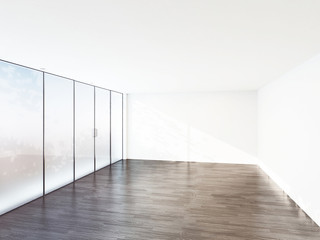 empty room with a big window 3d