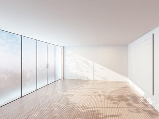 empty room with a big window and a picture, 3d