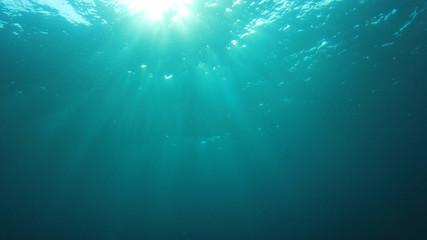 Underwater sunlight blue ocean