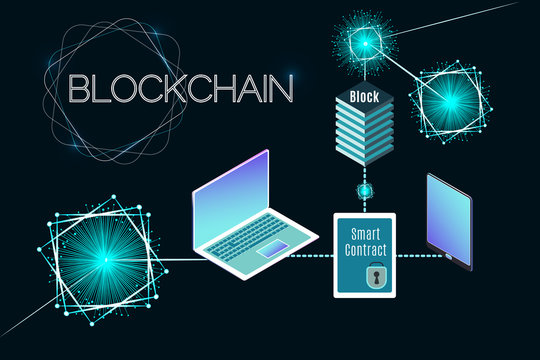 Blockchain technology vector illustration. Isometric laptop and tablet. Process of digital secure transaction by using smart contract.