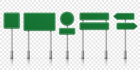 Road signs green vector template icons