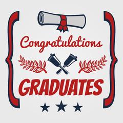 Graduate banner design. Congratulation card for graduates