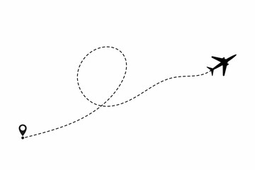 Airplane path in dotted line shape. Airplane flying in the white background