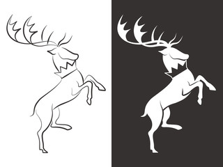 Line and silhouette deers vector design